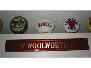 RARE 1930s F.W. Woolworth Reverse Glass 5 @ 10 Department Store Sign