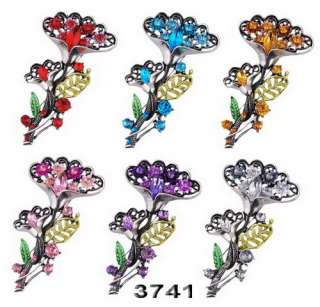 6p Flower 75*42MM Brooches Pins Inlay Czech Rhinestone Crystal Antique
