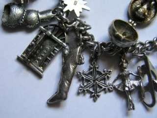 Vtg SILVER WINTER WONDERLAND CHRISTMAS CHARM BRACELET