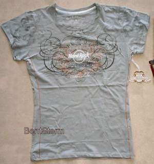 Hard Rock Cafe Honolulu Hawaii ladies COUTURE Large T Shirt Silver