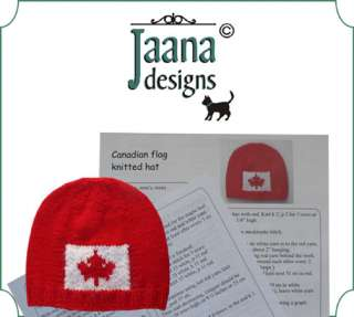 Knitting instructions, pattern, for Canadian flag hat, tuque, by