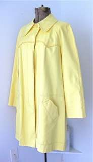 60s 70s London Fog Womens Light Yellow Canvas Raincoat Trench Coat 16