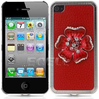 Ecell Designer Range   3D Flower Crystal Bling Back Case for iPhone 4
