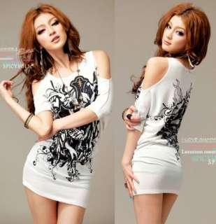 Women Casual Off Shoulder Long T shirt Mini Dress 6283#