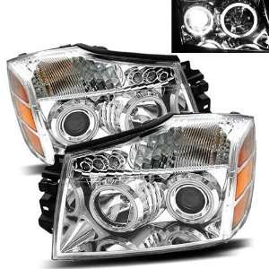 2004 2007 Nissan Armada CCFL Halo Projector Headlights /w Amber (Black