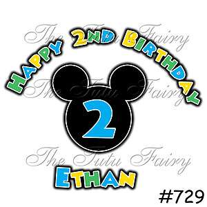 Mickey Mouse Shirt Boy Age Name Personalized 1st 2nd 3rd baby toddler