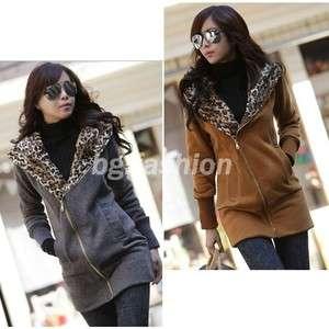 Fashion Korea Womens Leopard Hoodie Fleece Sweatshirt Jackets Coats 3