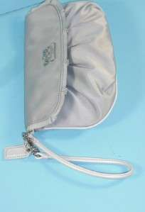 Coach 43402 Silver Gray Amanda Satin Large Wristlet Clutch Handbag