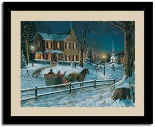 Horse Sleigh Ride Winter Scene Horse Drawn Art Framed