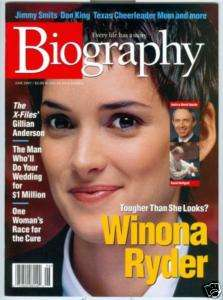 WINONA RYDER Biography Magazine 6/97 GILLIAN ANDERSON