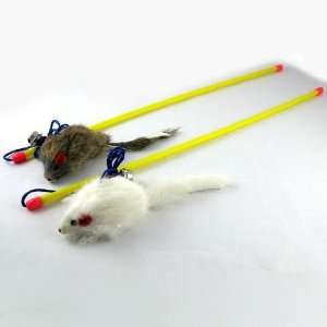 Pet Dog Cat Chew Dangle Mouse Stick Rope Hunting Toy