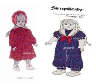 FABRIC PANEL 2 outfits sew for 18 American Girl Dolls Country Girl
