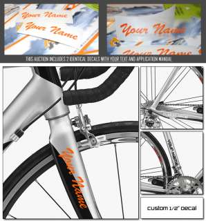 CUSTOM MADE BIKE FRAME STICKERS WITH YOUR NAME DECAL