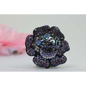 Handcrafted Purple Flower Elastic Stretch Cocktail Ring
