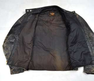 HARLEY DAVIDSON Brown Leather Moto Motorcycle Jacket XL Vintage