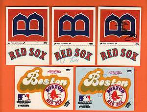 Autographed Boston Red Sox Lot of Stickers 2 Rice, Fisk & 2 Lynn ;