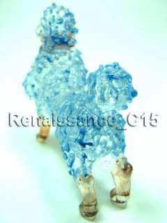 Figurine Animal Hand Blown Glass Stand Poodle Dog #1