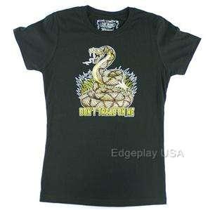 Dont Tread On Me Black Womans Tee Shirt Patriotic 7.62 Design