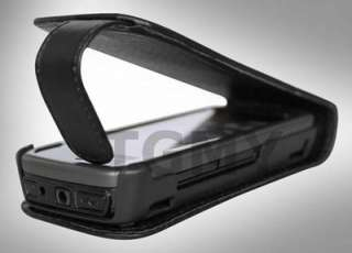 BLACK LEATHER FLIP CASE+SCREEN PROTECTOR FOR NOKIA 5228