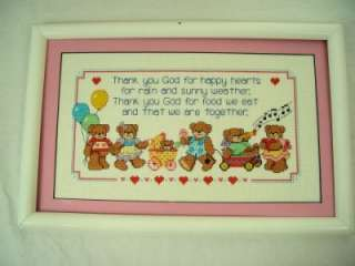 Cross Stitch Bears Thank you God 4 Happy Hearts Framed