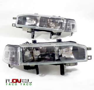 90 91 92 93 HONDA ACCORD JDM BLACK HEADLIGHTS + CORNER