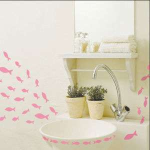 Pink Fishes Self Adhesive WALL STICKER Removable Decal