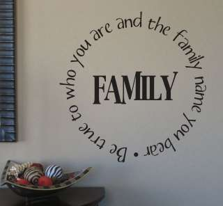 Family be true to who you are and the family name you bear 18x18