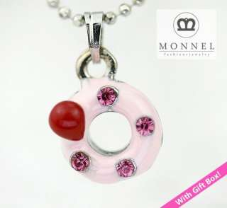 A66 Cute Pink Donut Charm Pendant Necklace (+Gift Box)