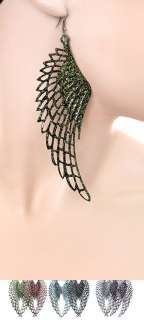 ANGEL WING TEXTURE EARRINGS~ 5 LONG~NEW IN GIFT BOX~