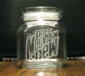 ETCHED GLASS SQUARE CANDY JAR, DIET MOUNTAIN DEW LOGO, MOUNTAIN DEW