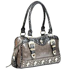 western cowgirl rhinestone cross with belt buckle front satchel bag