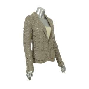 Sutton Studio Womens Metallic Crochet Cardigan Topper