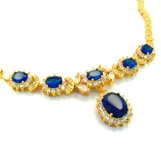 Wedding Jewelry Blue Sapphire 18K Gold Plated Oval Cut Necklace For