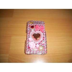 Iphone 4 4g Bling Crystal Pink Heart Hard Case Everything