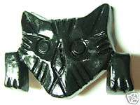 VINTAGE PLASTIC Black CELLULOSE ACETATE CARVED PLASTIC KITTY CAT
