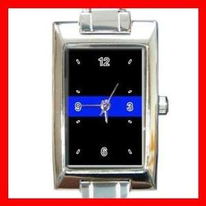 Thin Blue Line Police Law Rectangular Charm Watch