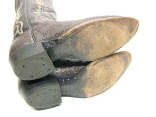 MENS TONY LAMA BROWN WATER BUFFALO SKIN COWBOY WESTERN BOOTS SZ 8.5~1