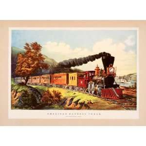 1942 Print Currier Ives American Express Train Railroad Track