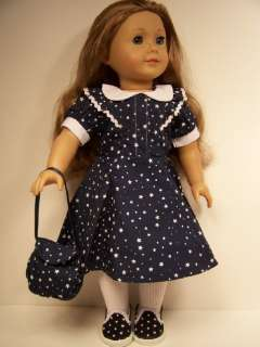 NAVY BLUE Dress w/PURSE Doll Clothes For AMERICAN GIRL♥