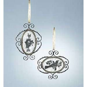 : Wendy Addison Set of 2 Mirrored Ornaments Nest Bird: Home & Kitchen