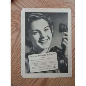 Bell Telephone System.1940 print ad (woman/its my favorite bargain