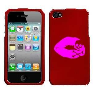 APPLE IPHONE 4 4G PINK SKULL LIPS ON A RED HARD CASE COVER