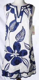 NWT Blue White Cotton Floral Print Sleeveless Sun Dress Sz 4