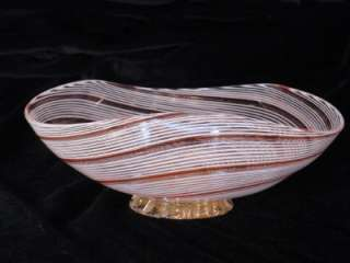 Venetian latticino footed bowl red & white with gold