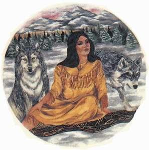 Ceramic Decals Native American Indian Maiden Wolf Scene