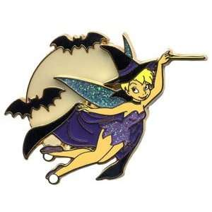 Disney Tinker Bell Flying Halloween Witch Pin   Retired