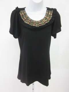 ROMEO & JULIET COUTURE Black Short Sleeve Beaded Top M