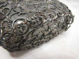 ANTIQUE SILVER METAL OVERLAY WHISKEY RYE BOTTLE FLASK INSECT LIZARD