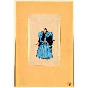 Japanese man, full length, standing, facing left, wearing robe over