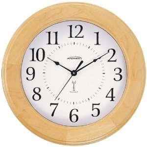 Atomix 00566 12 Atomic Clock (Natural Wood Finish Ridged